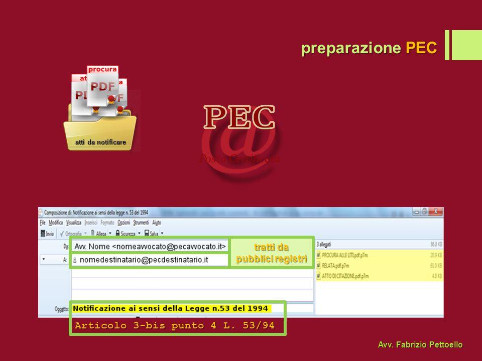 preparazione PEC Articolo 3-bis punto 4 L.53/94 tratti da pubblici registri Avv.