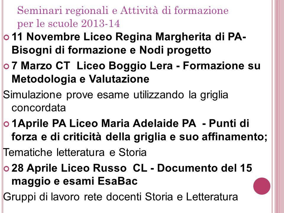 Seminari regionali e Attività di formazione per le scuole 2013-14 11 Novembre Liceo Regina Margherita di PA- Bisogni di formazione e Nodi progetto 7 M