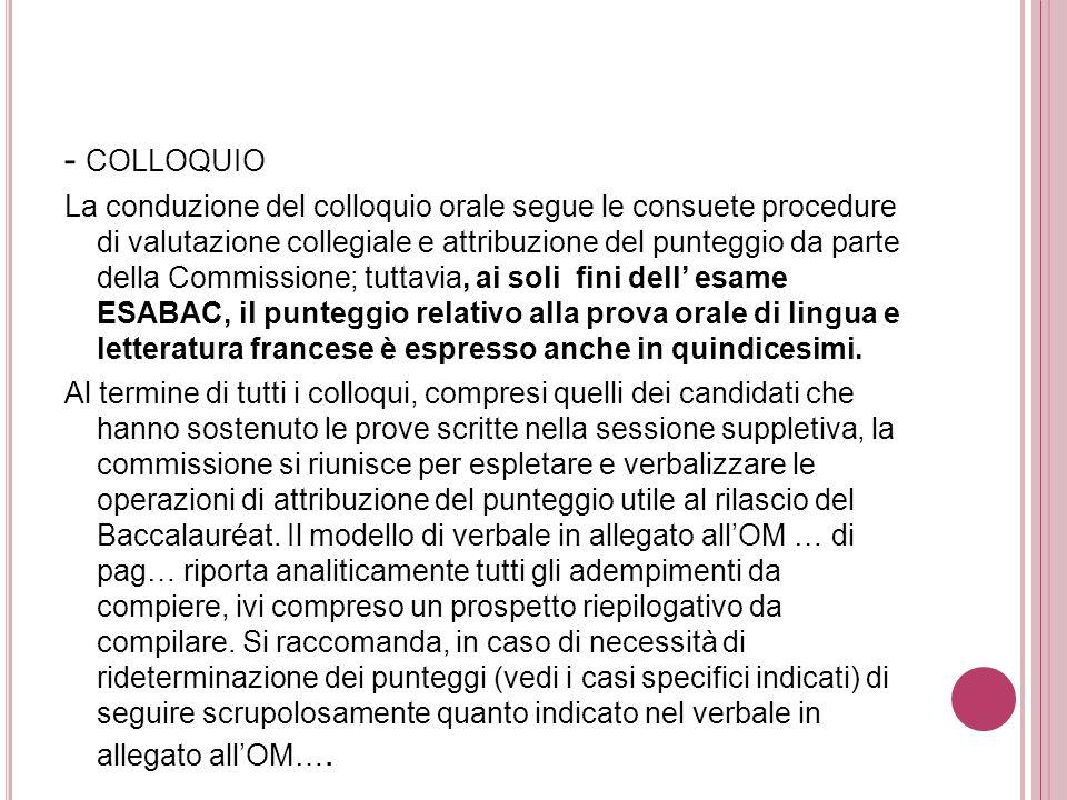 - COLLOQUIO La conduzione del colloquio orale segue le consuete procedure di valutazione collegiale e attribuzione del punteggio da parte della Commis