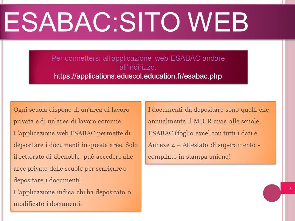 ESABAC:SITO WEB Ogni scuola dispone di un'area di lavoro privata e di un'area di lavoro comune. L'applicazione web ESABAC permette di depositare i doc