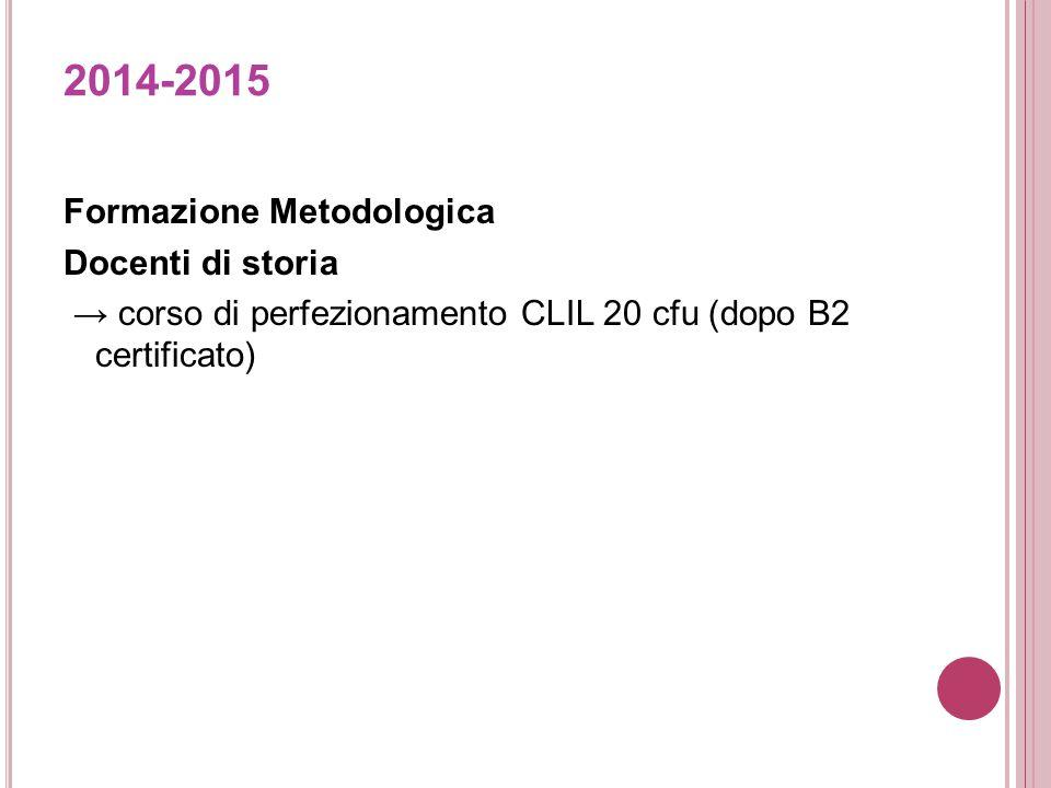 2014-2015 Formazione Metodologica Docenti di storia → corso di perfezionamento CLIL 20 cfu (dopo B2 certificato)
