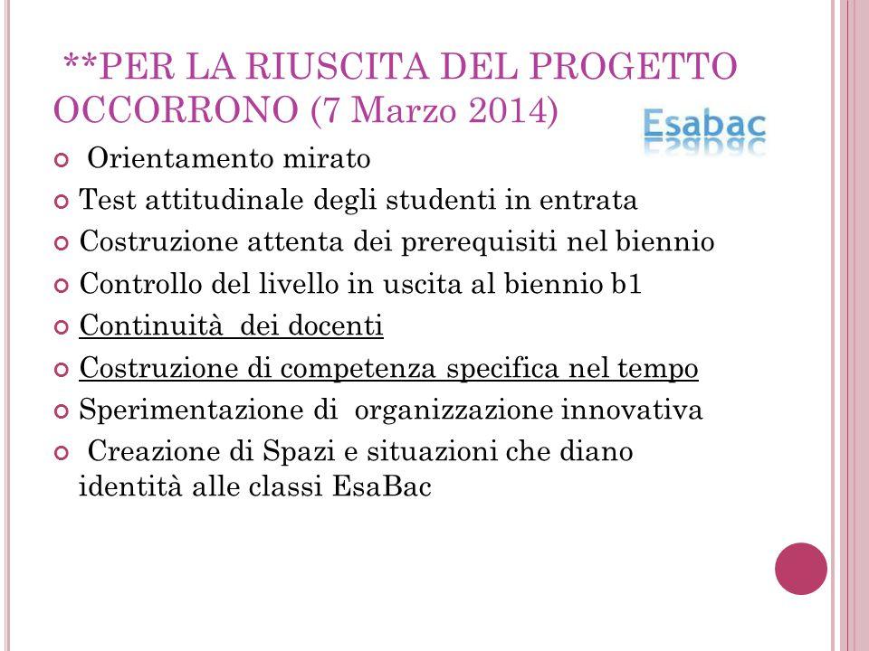 **PER LA RIUSCITA DEL PROGETTO OCCORRONO (7 Marzo 2014) Orientamento mirato Test attitudinale degli studenti in entrata Costruzione attenta dei prereq