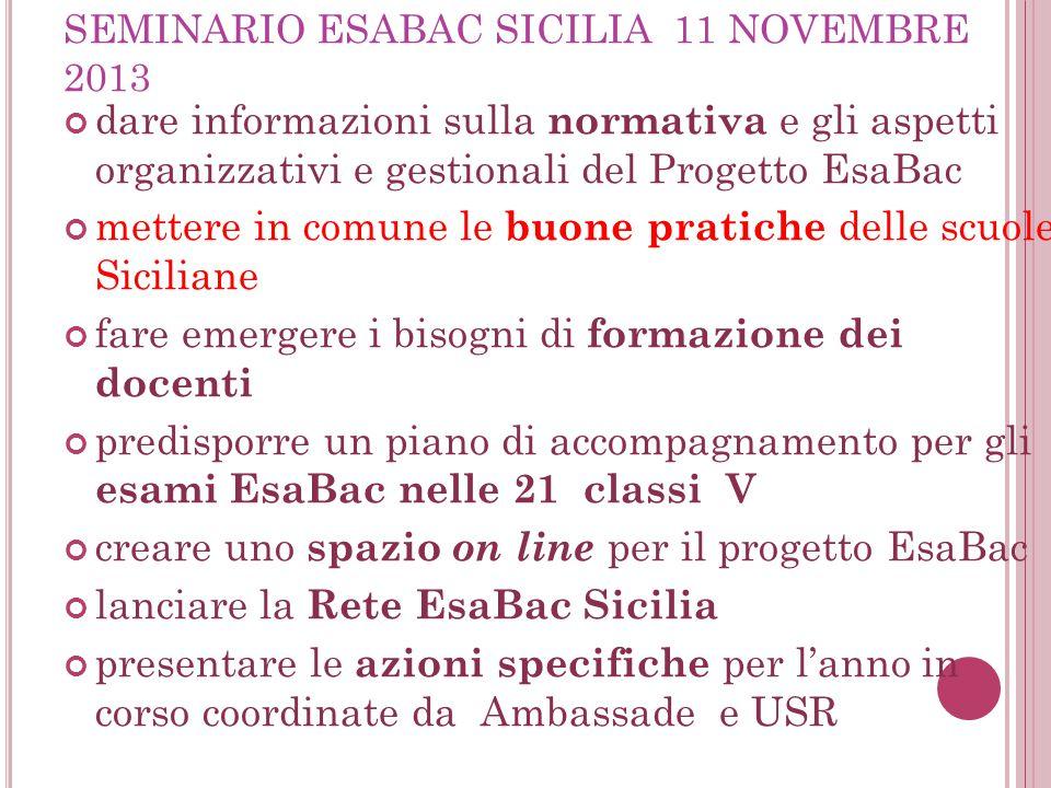SEMINARIO ESABAC SICILIA 11 NOVEMBRE 2013 dare informazioni sulla normativa e gli aspetti organizzativi e gestionali del Progetto EsaBac mettere in co