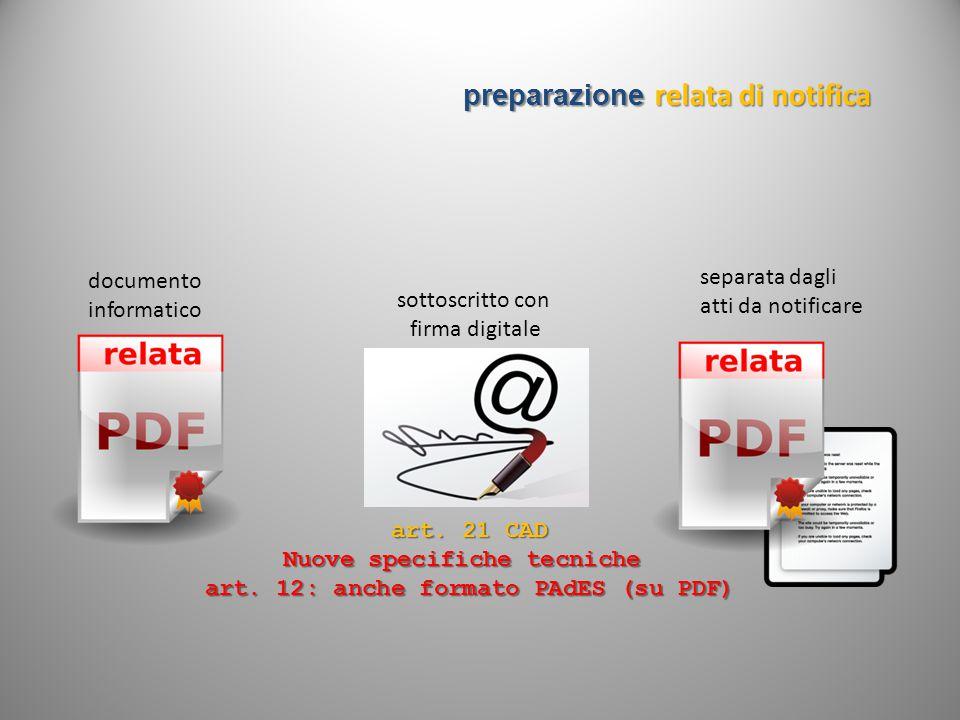 preparazione relata di notifica documento informatico separata dagli atti da notificare art. 21 CAD Nuove specifiche tecniche art. 12: anche formato P