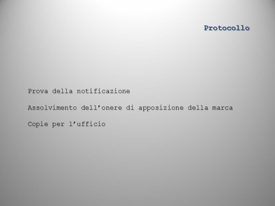 Prova della notificazione Assolvimento dell'onere di apposizione della marca Copie per l'ufficio Protocollo