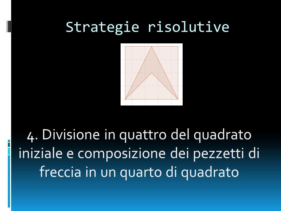 Strategie risolutive 4. Divisione in quattro del quadrato iniziale e composizione dei pezzetti di freccia in un quarto di quadrato