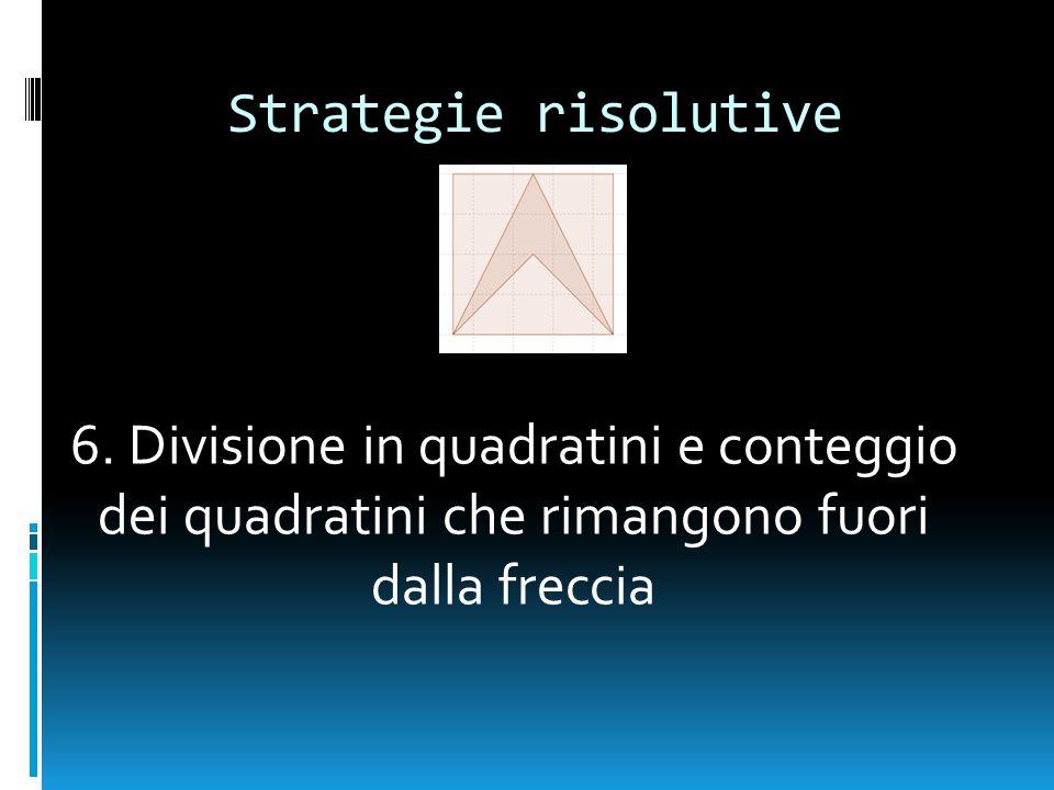 Strategie risolutive 6. Divisione in quadratini e conteggio dei quadratini che rimangono fuori dalla freccia