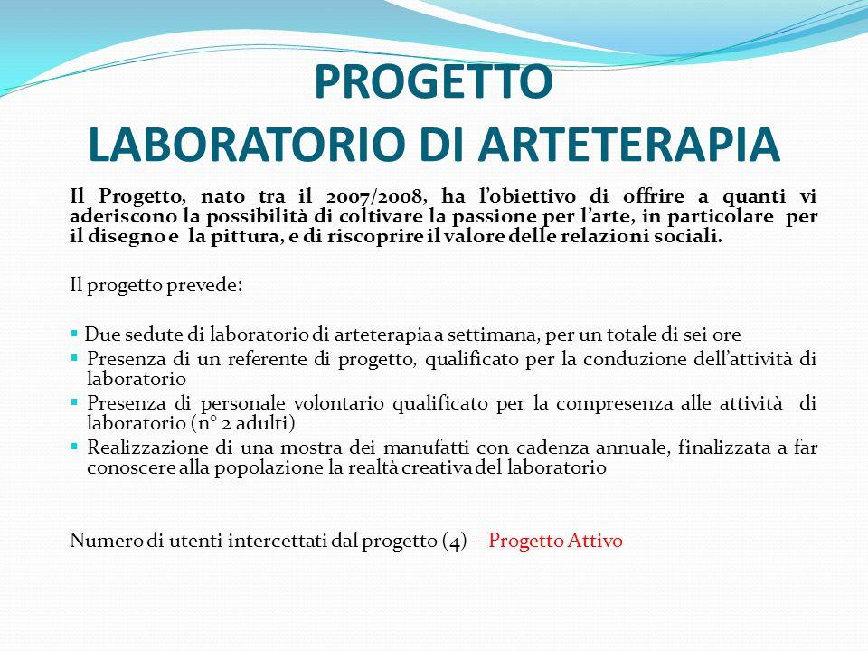PROGETTO LABORATORIO DI ARTETERAPIA Il Progetto, nato tra il 2007/2008, ha l'obiettivo di offrire a quanti vi aderiscono la possibilità di coltivare l