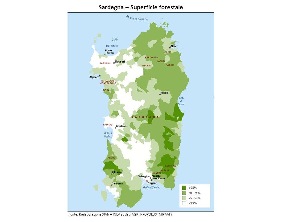 Sardegna – Superficie forestale Fonte: Rielaborazione SIAN – INEA su dati AGRIT-POPOLUS (MIPAAF)
