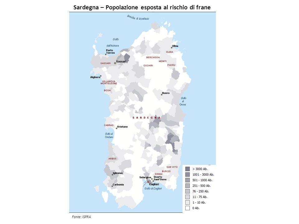 Sardegna – Popolazione esposta al rischio di frane Fonte: ISPRA