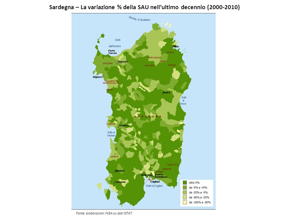 Sardegna – La variazione % della SAU nell'ultimo decennio (2000-2010) Fonte: elaborazioni INEA su dati ISTAT