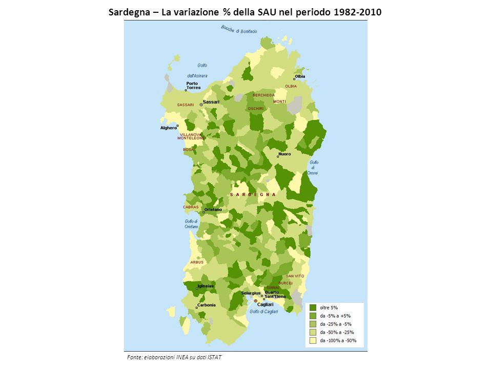 Sardegna – La variazione % della SAU nel periodo 1982-2010 Fonte: elaborazioni INEA su dati ISTAT