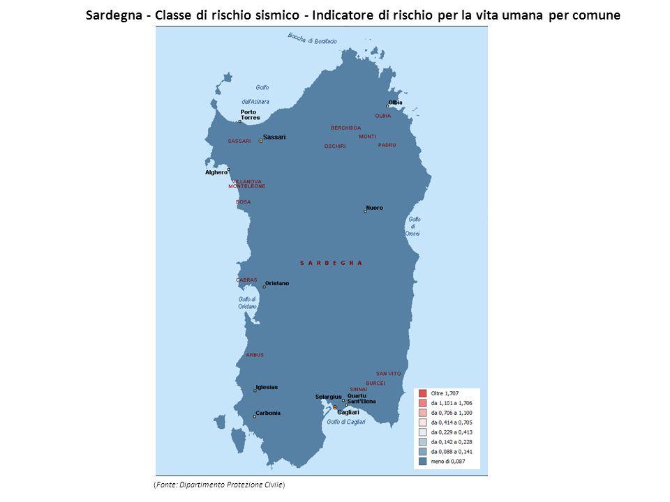 Sardegna - Classe di rischio sismico - Indicatore di rischio per la vita umana per comune (Fonte: Dipartimento Protezione Civile)
