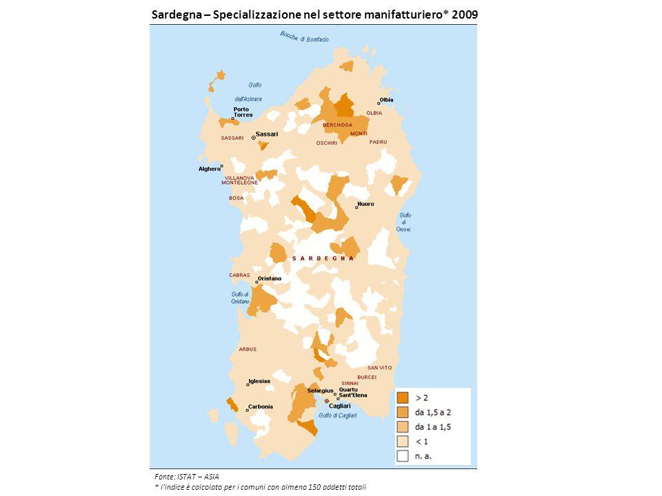 Sardegna – Specializzazione nel settore manifatturiero* 2009 Fonte: ISTAT – ASIA * l'indice è calcolato per i comuni con almeno 150 addetti totali
