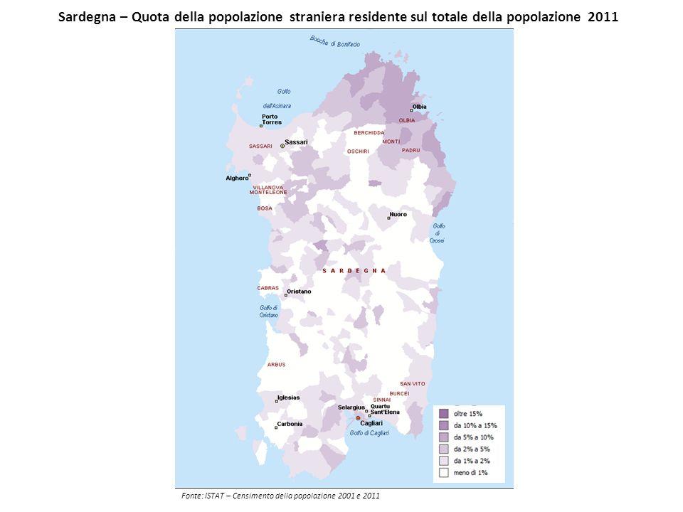 Sardegna – Quota della popolazione straniera residente sul totale della popolazione 2011 Fonte: ISTAT – Censimento della popolazione 2001 e 2011