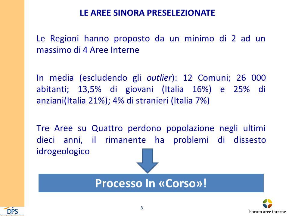 ESEMPI DI AREE INTERNE PRE SELEZIONATE Il caso della Liguria e dell'Umbria 9