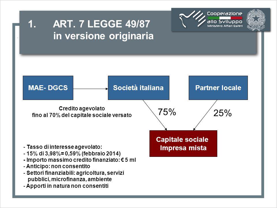 1.ART. 7 LEGGE 49/87 in versione emendata dopo delibera CIPE n.