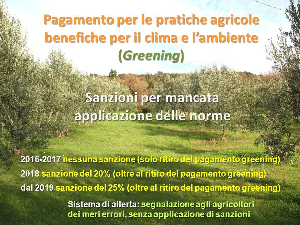 Pagamento per le pratiche agricole benefiche per il clima e l'ambiente (Greening) Sanzioni per mancata applicazione delle norme 2016-2017nessuna sanzi