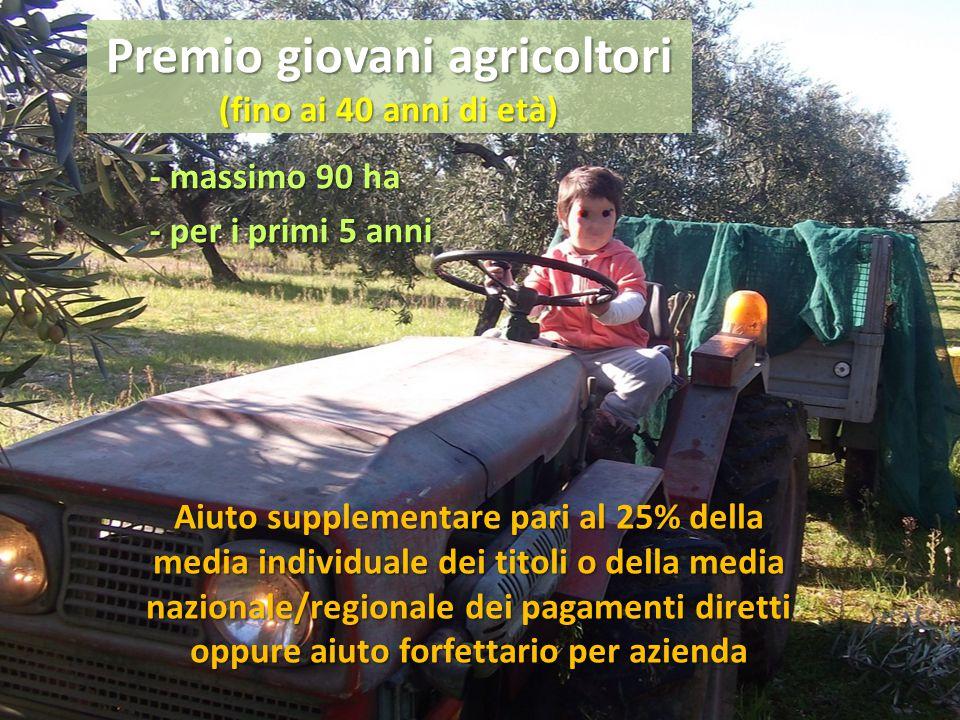 Premio giovani agricoltori (fino ai 40 anni di età) - massimo 90 ha - per i primi 5 anni Aiuto supplementare pari al 25% della media individuale dei t
