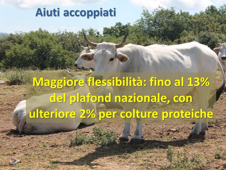 Aiuti accoppiati Maggiore flessibilità: fino al 13% del plafond nazionale, con ulteriore 2% per colture proteiche