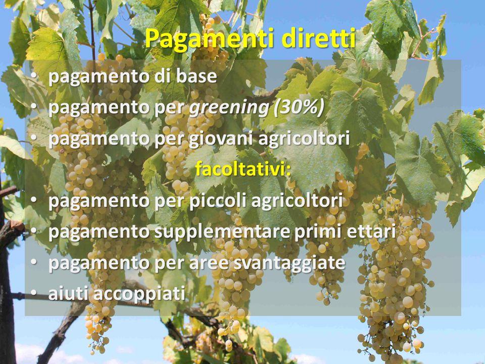 Pagamenti diretti pagamento di base pagamento di base pagamento per greening (30%) pagamento per greening (30%) pagamento per giovani agricoltori paga
