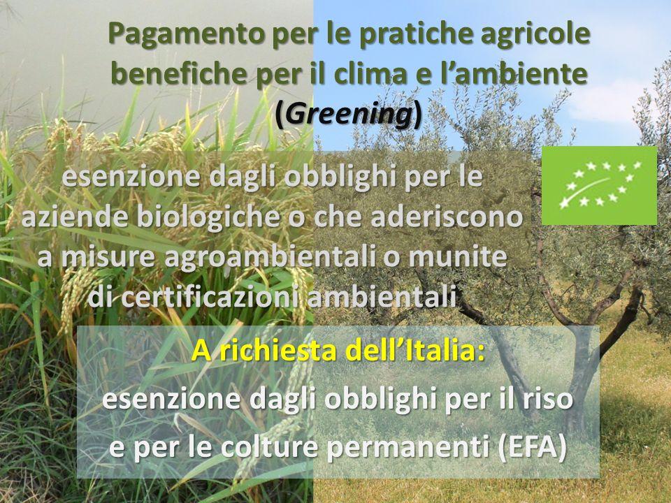 Pagamento per le pratiche agricole benefiche per il clima e l'ambiente (Greening) esenzione dagli obblighi per le aziende con oltre il 75% della superficie a pascolo permanente, foraggere o riso