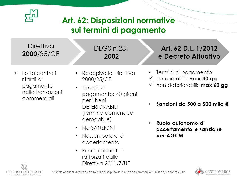 """Art. 62: Disposizioni normative sui termini di pagamento """"Aspetti applicativi dell'articolo 62 sulla disciplina delle relazioni commerciali"""" - Milano,"""