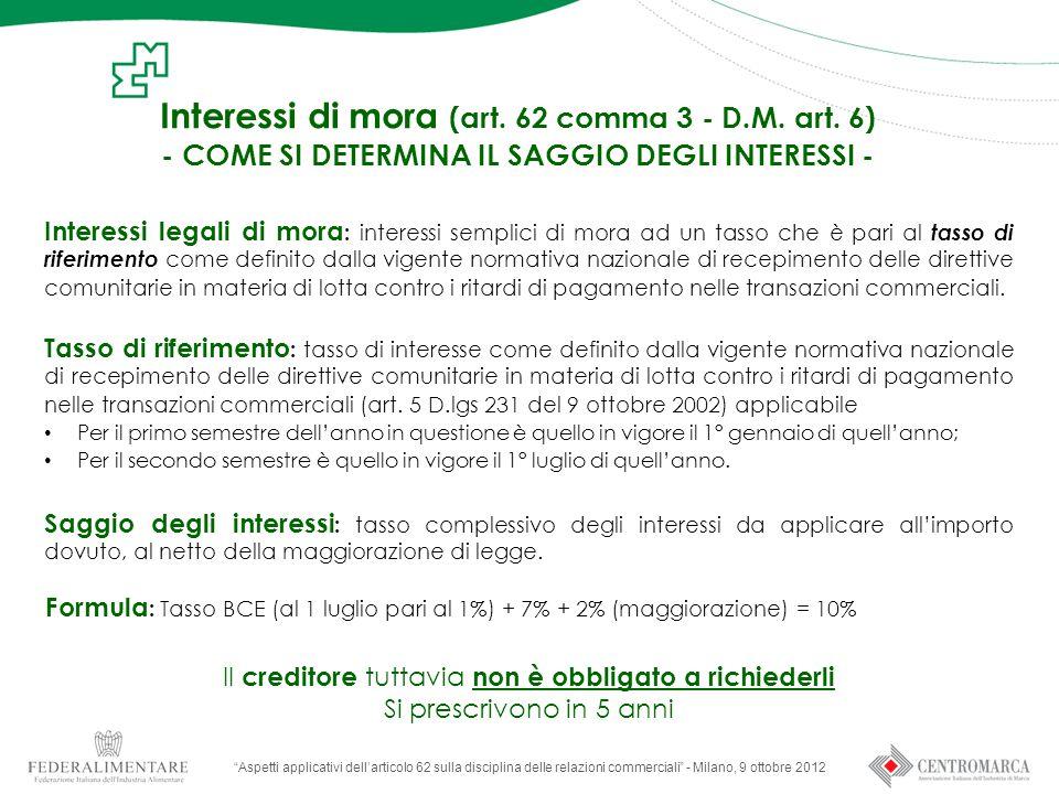 Interessi di mora (art.62 comma 3 - D.M. art.