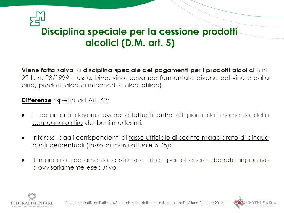 Disciplina speciale per la cessione prodotti alcolici (D.M.