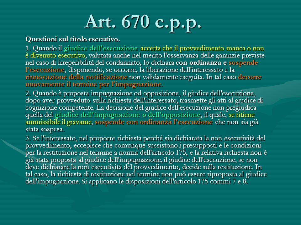 Art. 670 c.p.p. Questioni sul titolo esecutivo. 1. Quando il giudice dell'esecuzione accerta che il provvedimento manca o non è divenuto esecutivo, va