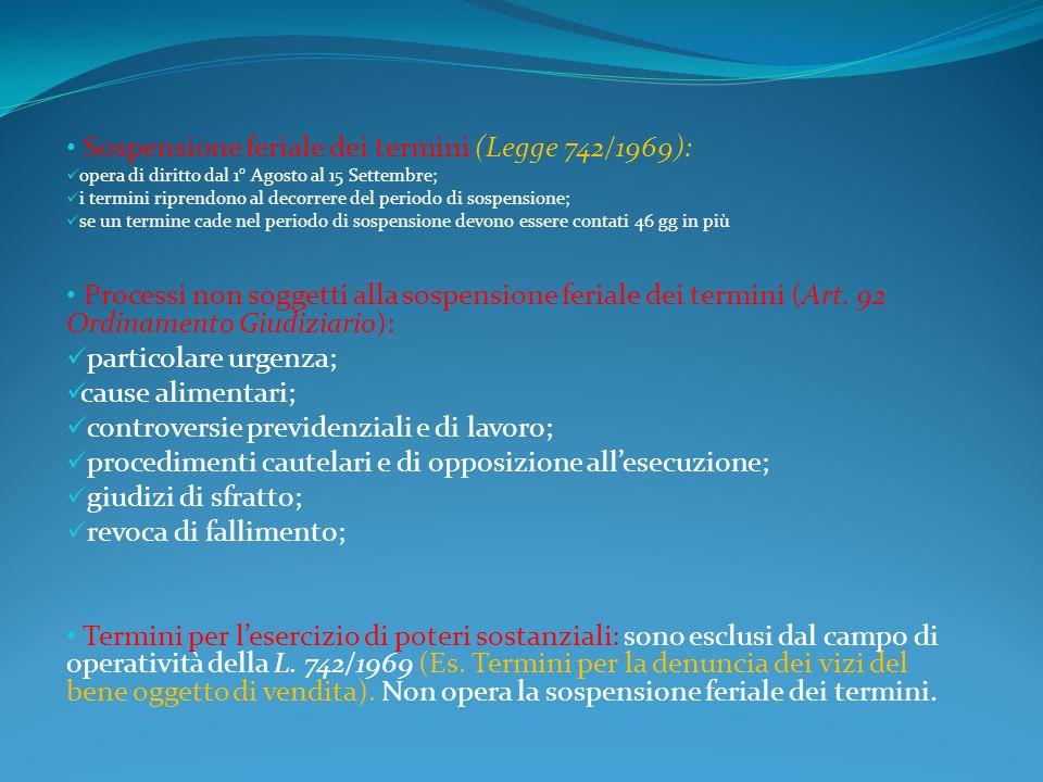 Sospensione feriale dei termini (Legge 742/1969): opera di diritto dal 1° Agosto al 15 Settembre; i termini riprendono al decorrere del periodo di sos