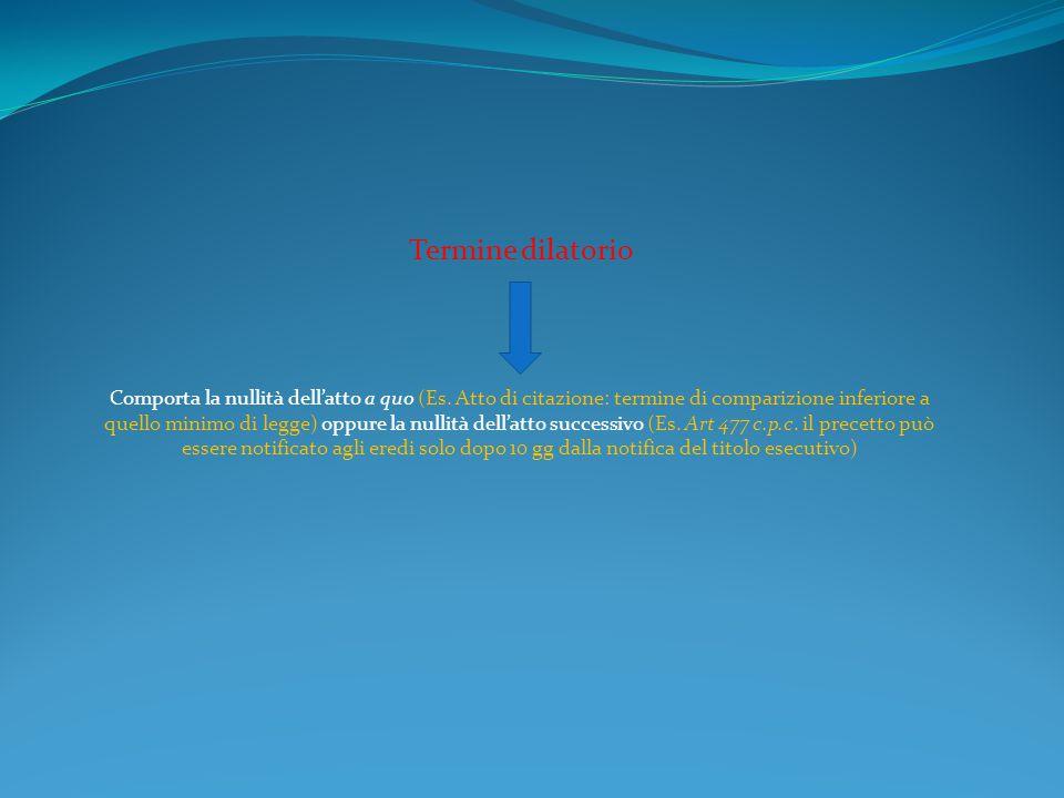 Termine dilatorio Comporta la nullità dell'atto a quo (Es. Atto di citazione: termine di comparizione inferiore a quello minimo di legge) oppure la nu