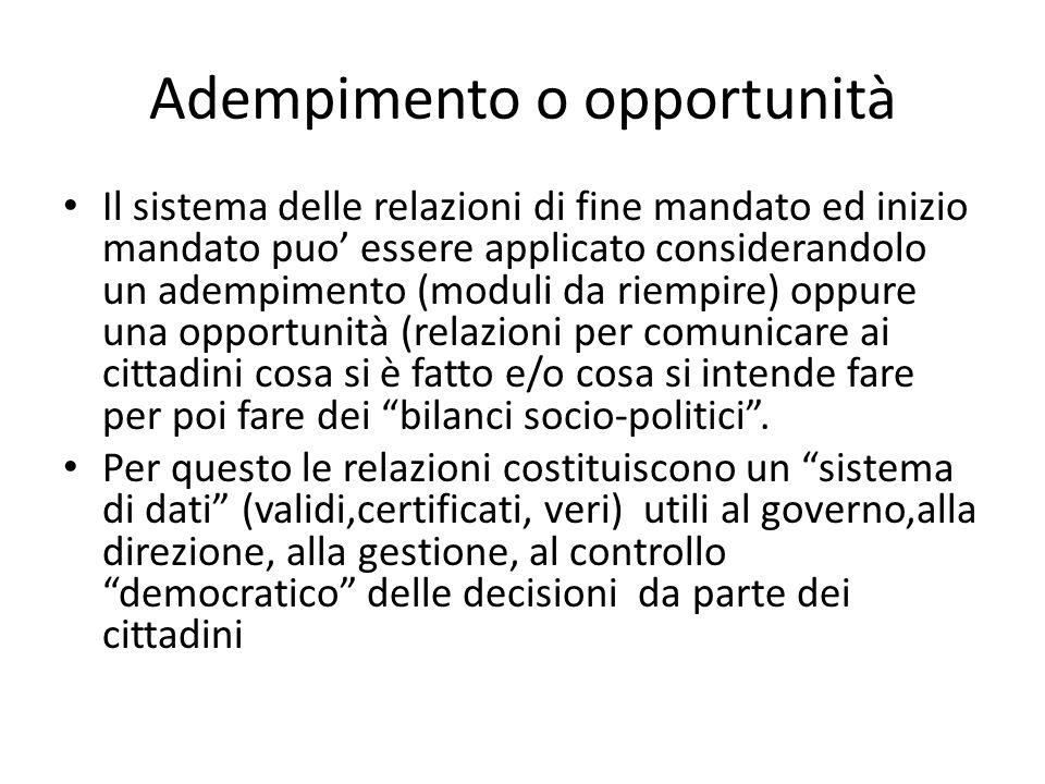 Adempimento o opportunità Il sistema delle relazioni di fine mandato ed inizio mandato puo' essere applicato considerandolo un adempimento (moduli da