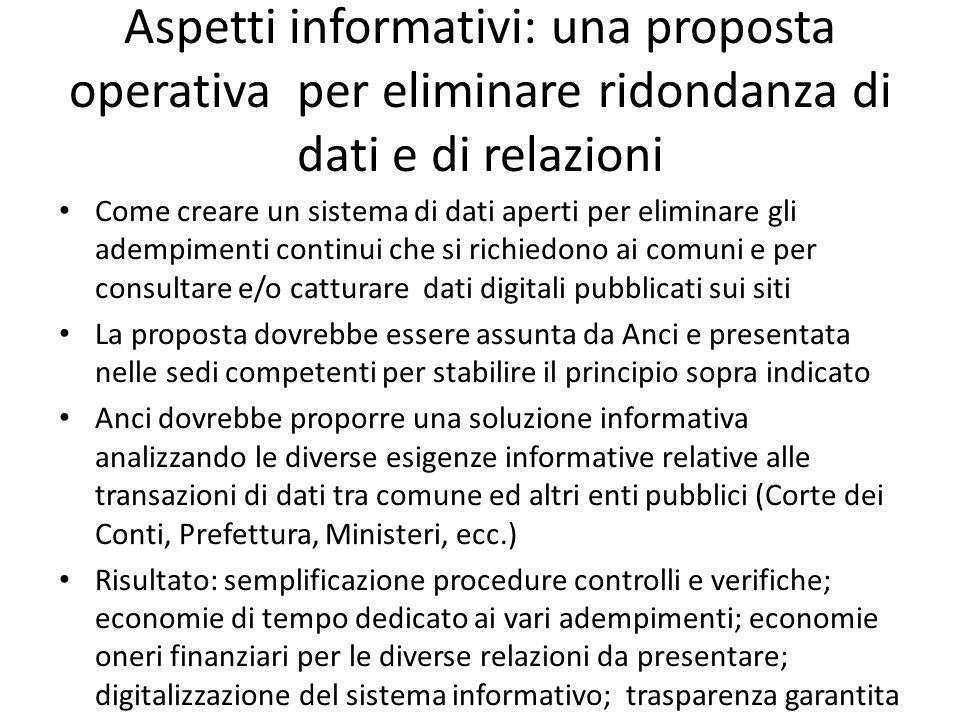 Aspetti informativi: una proposta operativa per eliminare ridondanza di dati e di relazioni Come creare un sistema di dati aperti per eliminare gli ad
