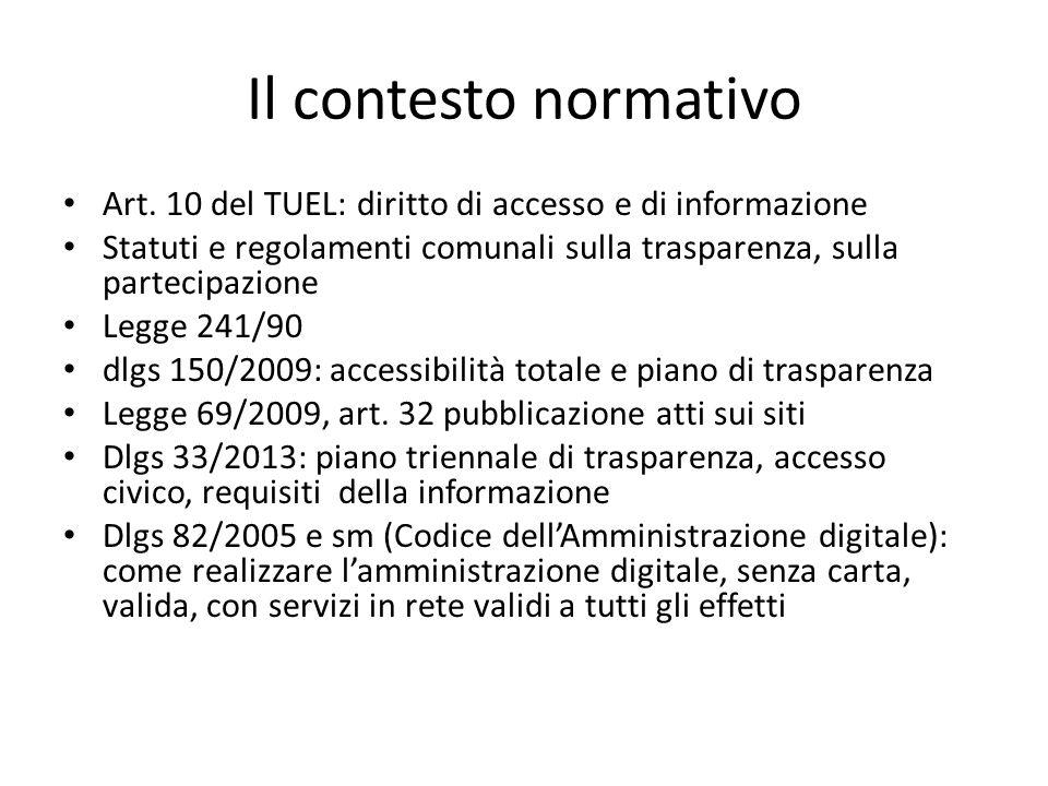 Il contesto normativo Art. 10 del TUEL: diritto di accesso e di informazione Statuti e regolamenti comunali sulla trasparenza, sulla partecipazione Le
