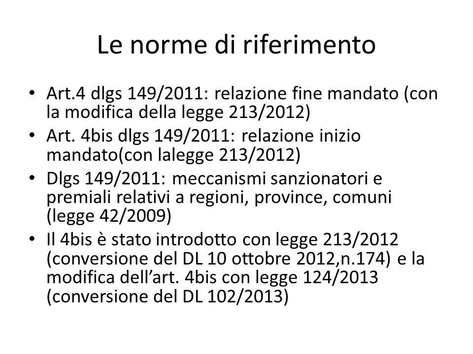 Le norme di riferimento Art.4 dlgs 149/2011: relazione fine mandato (con la modifica della legge 213/2012) Art. 4bis dlgs 149/2011: relazione inizio m