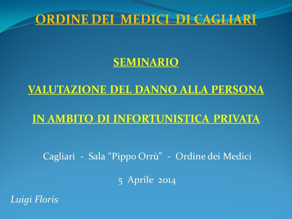 Cagliari - Sala Pippo Orrù - Ordine dei Medici 5 Aprile 2014 Luigi Floris ORDINE DEI MEDICI DI CAGLIARI SEMINARIO VALUTAZIONE DEL DANNO ALLA PERSONA IN AMBITO DI INFORTUNISTICA PRIVATA