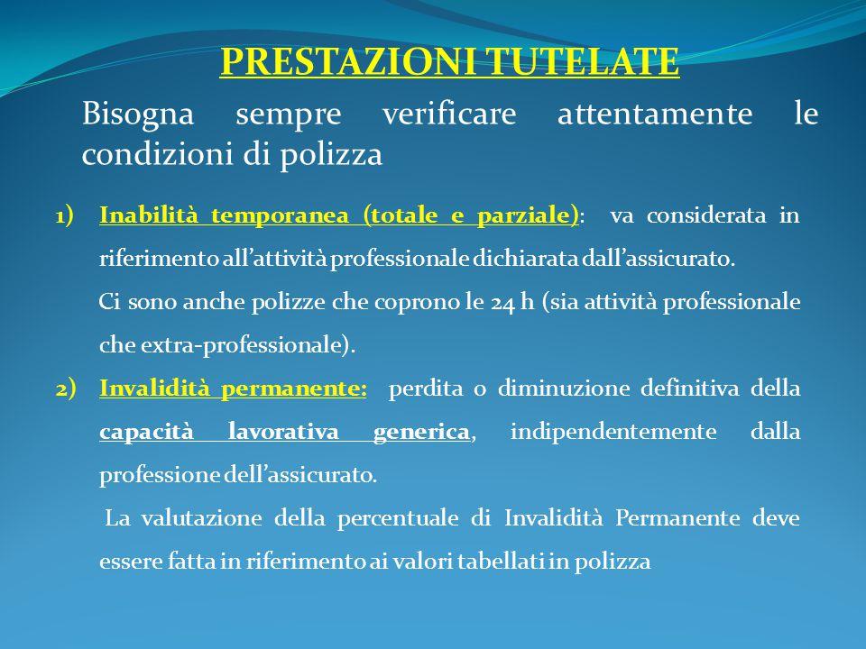 PRESTAZIONI TUTELATE Bisogna sempre verificare attentamente le condizioni di polizza 1)Inabilità temporanea (totale e parziale) : va considerata in riferimento all'attività professionale dichiarata dall'assicurato.