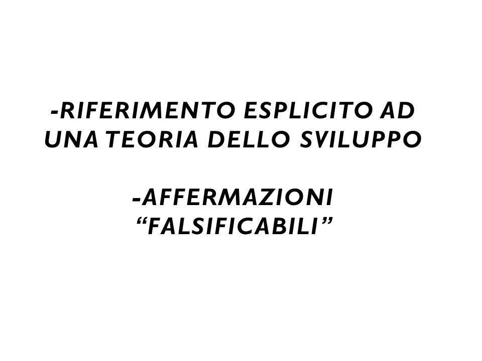 """- RIFERIMENTO ESPLICITO AD UNA TEORIA DELLO SVILUPPO -AFFERMAZIONI """"FALSIFICABILI"""""""