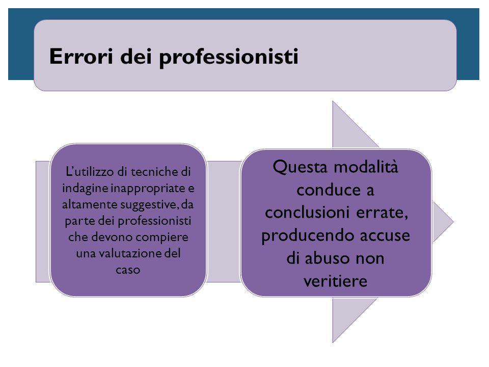 Errori dei professionisti L'utilizzo di tecniche di indagine inappropriate e altamente suggestive, da parte dei professionisti che devono compiere una