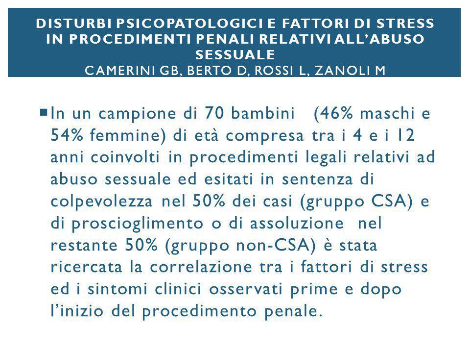 DISTURBI PSICOPATOLOGICI E FATTORI DI STRESS IN PROCEDIMENTI PENALI RELATIVI ALL'ABUSO SESSUALE CAMERINI GB, BERTO D, ROSSI L, ZANOLI M  In un campio