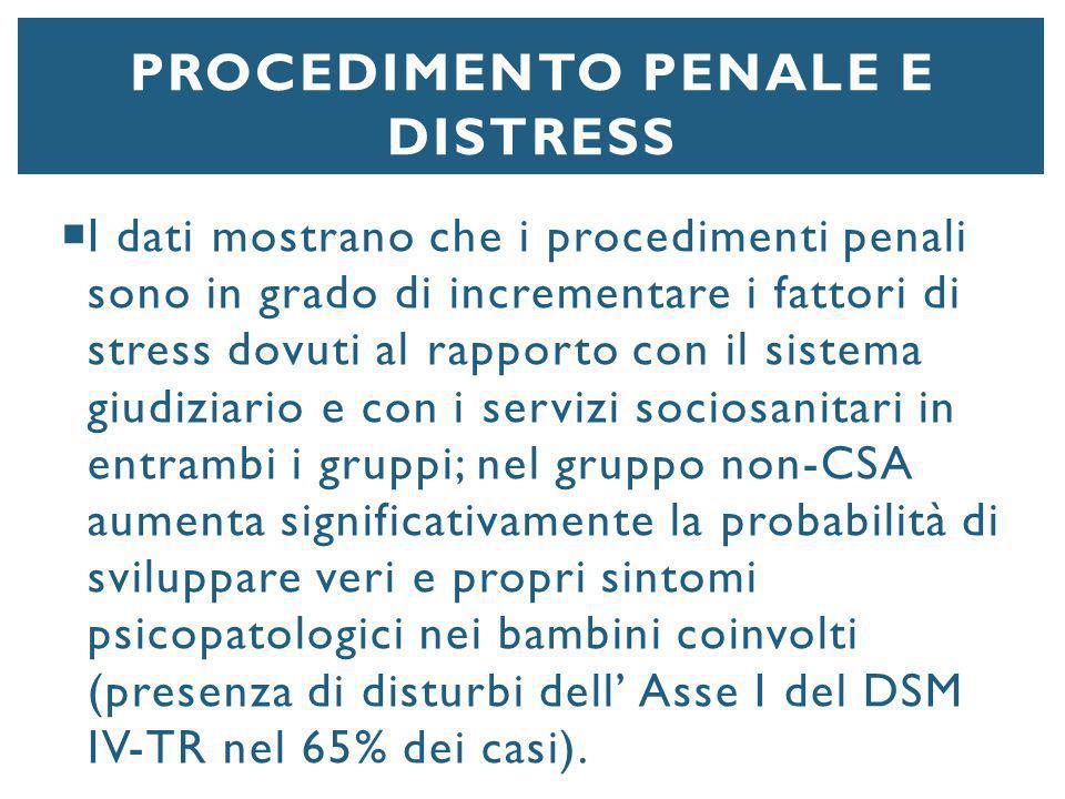 PROCEDIMENTO PENALE E DISTRESS  I dati mostrano che i procedimenti penali sono in grado di incrementare i fattori di stress dovuti al rapporto con il