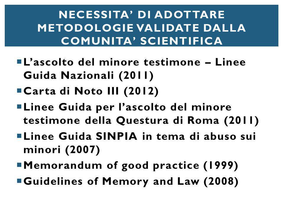  L'ascolto del minore testimone – Linee Guida Nazionali (2011)  Carta di Noto III (2012)  Linee Guida per l'ascolto del minore testimone della Ques