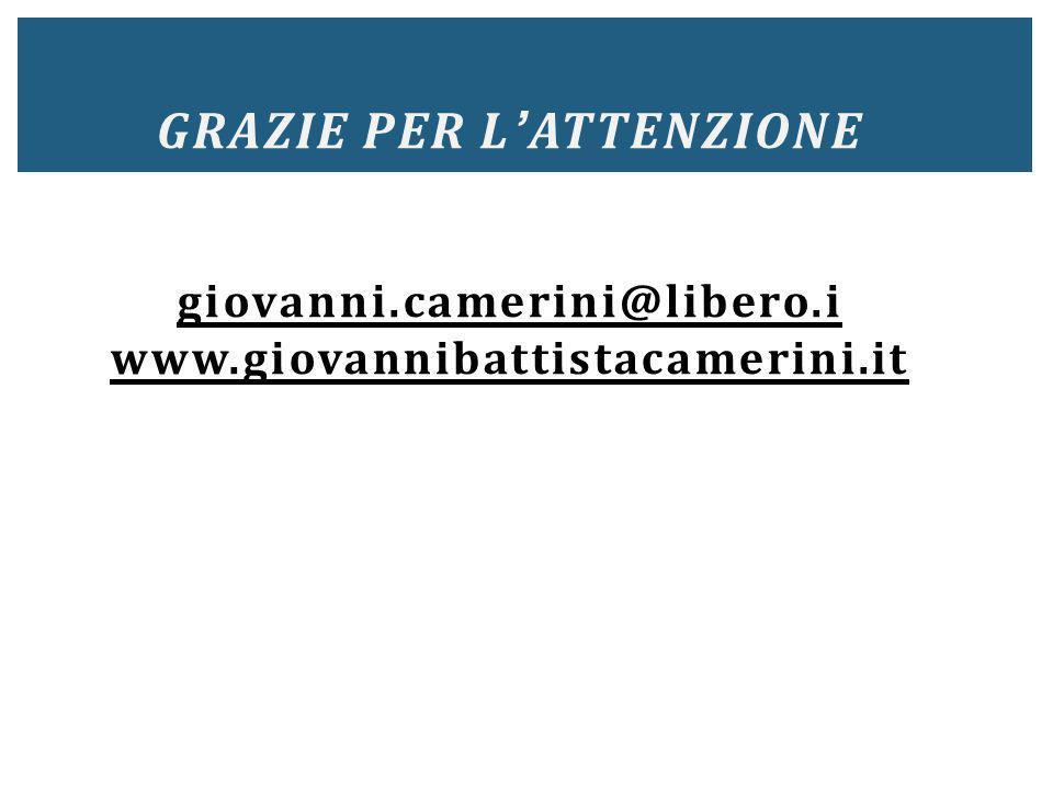 GRAZIE PER L ' ATTENZIONE giovanni.camerini@libero.i www.giovannibattistacamerini.it