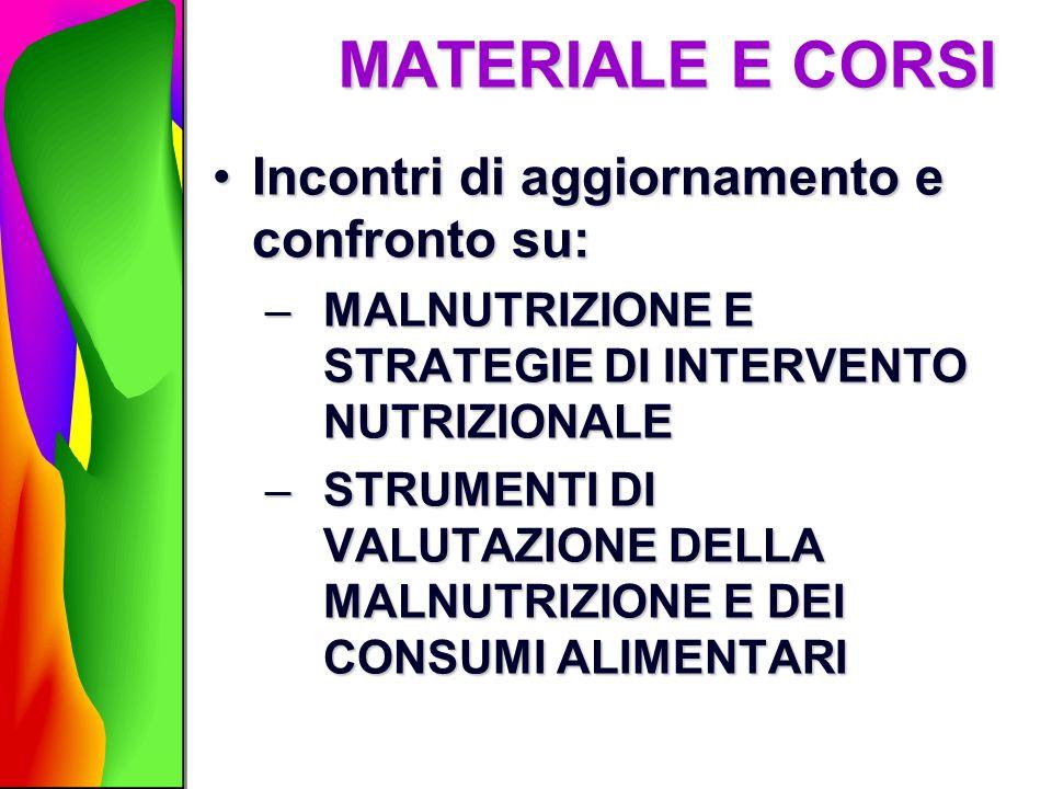 MATERIALE E CORSI Incontri di aggiornamento e confronto su:Incontri di aggiornamento e confronto su: –MALNUTRIZIONE E STRATEGIE DI INTERVENTO NUTRIZIO