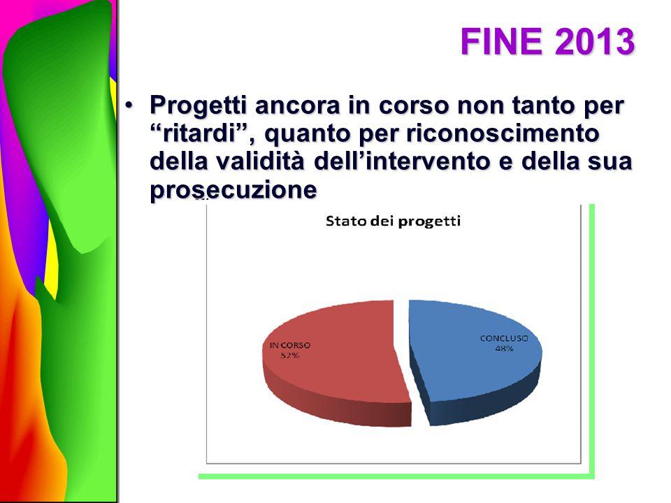 """FINE 2013 Progetti ancora in corso non tanto per """"ritardi"""", quanto per riconoscimento della validità dell'intervento e della sua prosecuzioneProgetti"""