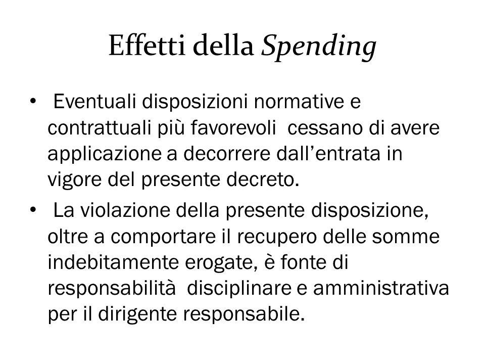 Effetti della Spending Eventuali disposizioni normative e contrattuali più favorevoli cessano di avere applicazione a decorrere dall'entrata in vigore del presente decreto.
