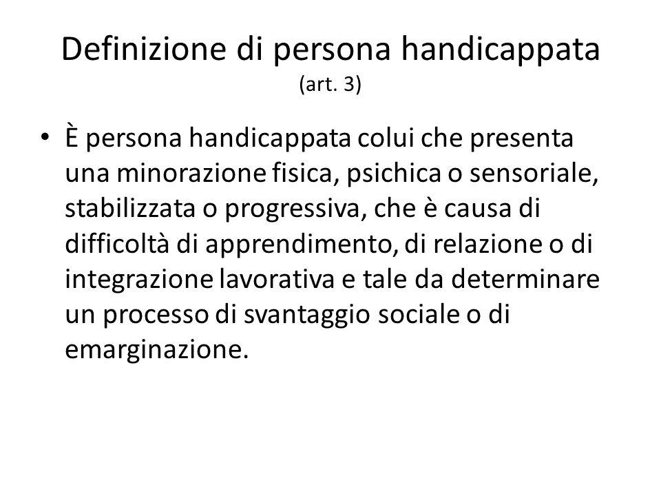 Definizione di persona handicappata (art.