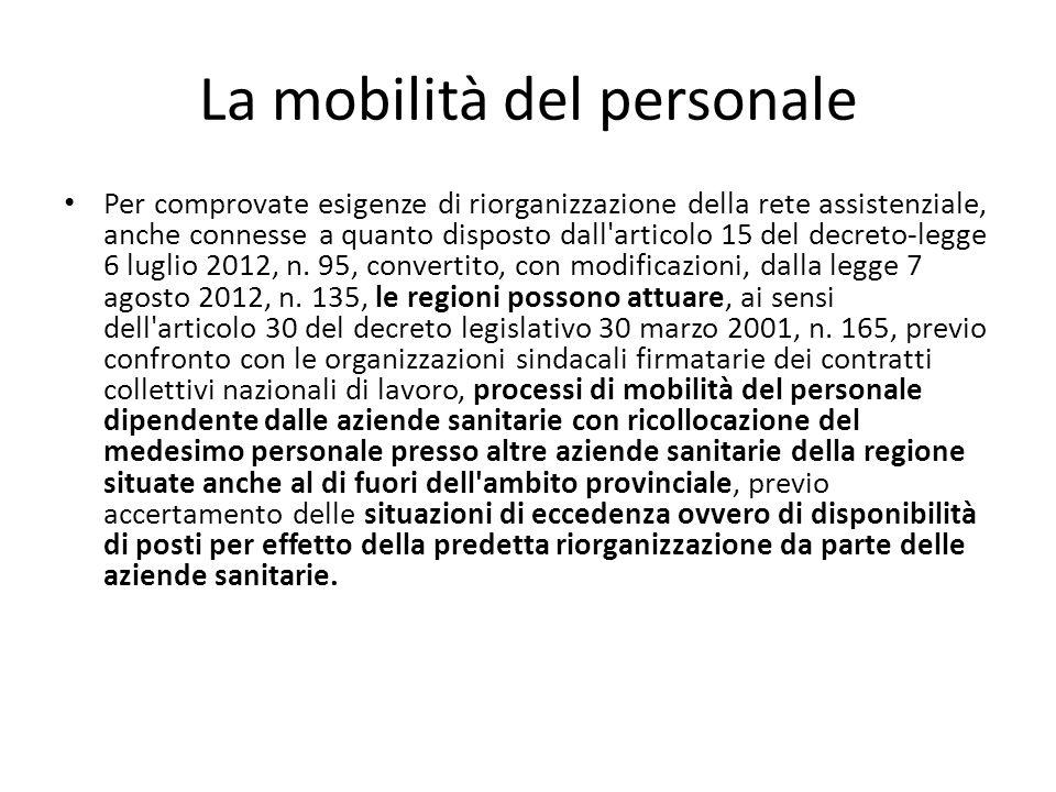 La mobilità del personale Per comprovate esigenze di riorganizzazione della rete assistenziale, anche connesse a quanto disposto dall articolo 15 del decreto-legge 6 luglio 2012, n.