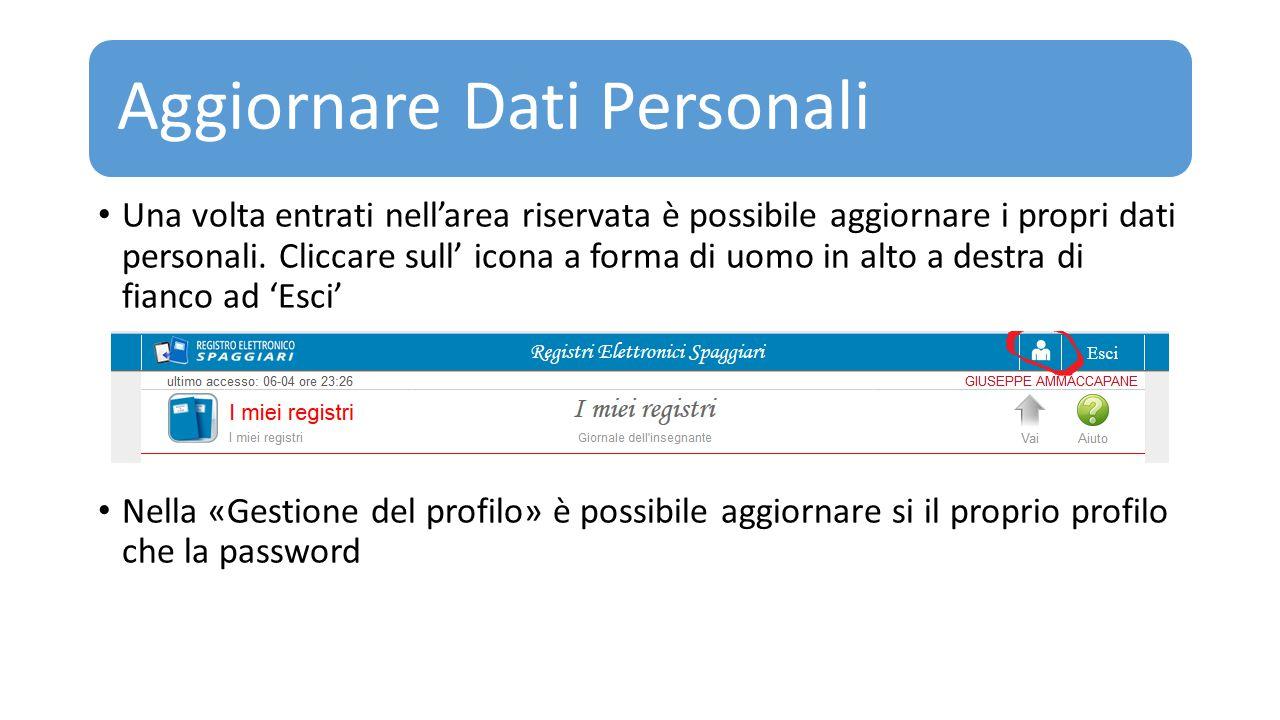 Aggiornare Dati Personali Una volta entrati nell'area riservata è possibile aggiornare i propri dati personali. Cliccare sull' icona a forma di uomo i